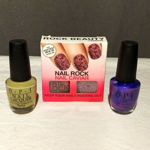 2 OPI Nail Laquer & Rock Beauty Caviar set NIB